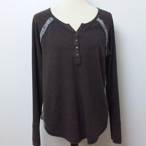 Lucky Brand XL Henley Soft Thermal Top Brown
